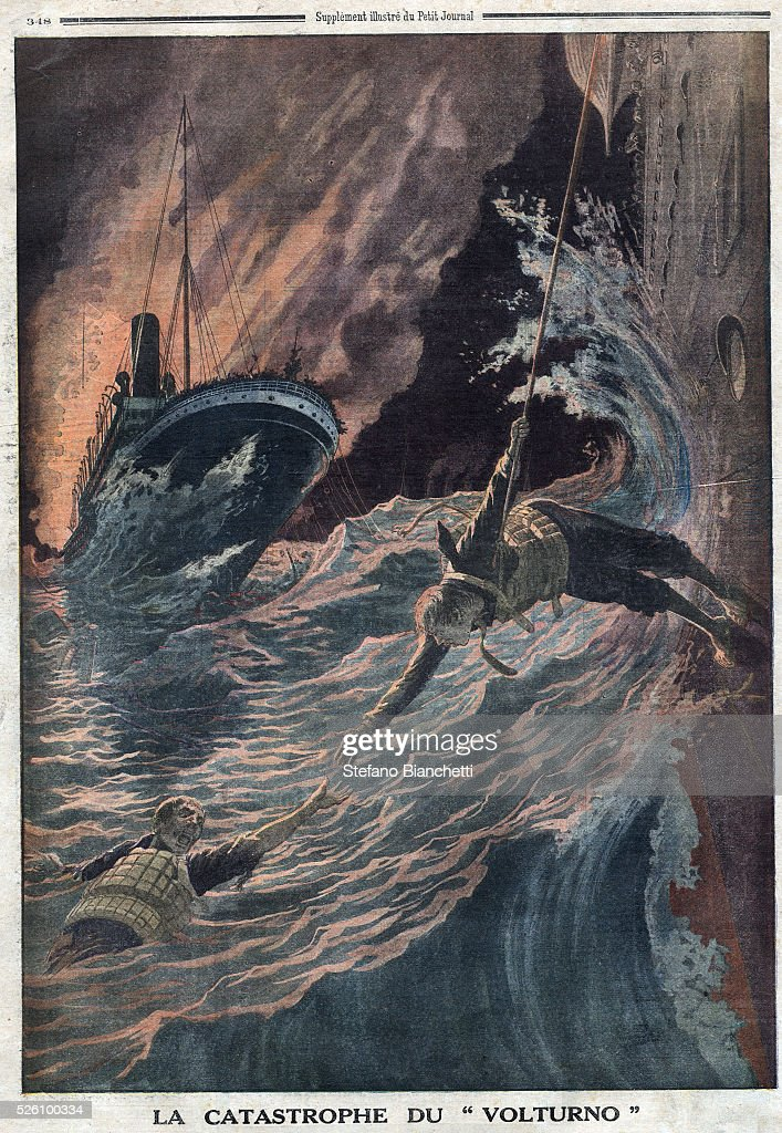 Illustration from Le Petit Journal The Volturno ocean liner caught fire while en route between Rotterdam and New York
