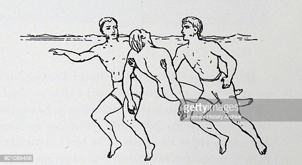 Illustration from the book 'A Manual of Swimming' by Cecil Colwin The illustration depicts a better method for helping a drowning victim Dated 19th...