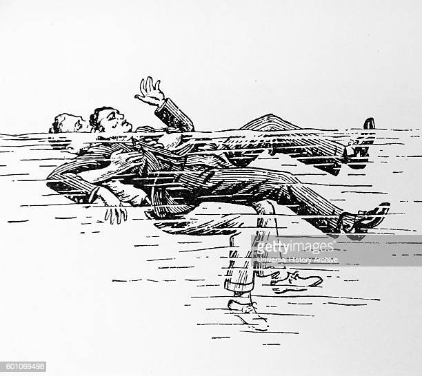Illustration from the book 'A Manual of Swimming' by Cecil Colwin The illustration depicts a method for helping a drowning victim Dated 19th Century