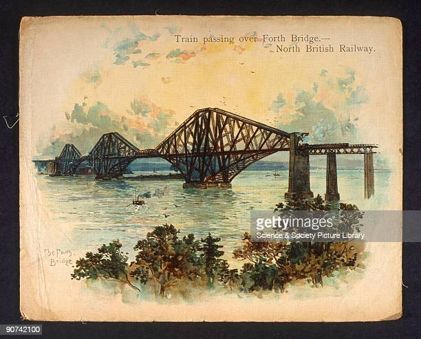 Illustration from 'The Book of Trains' a children's railway book The steel cantilever structure of the bridge which crosses the estuary of the Firth...
