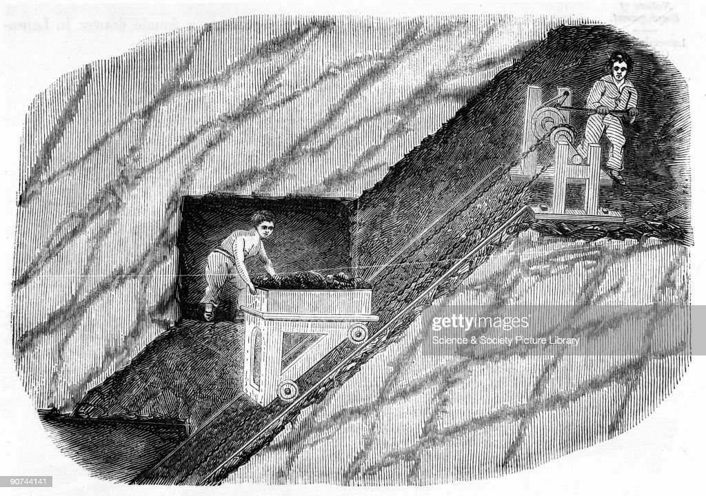 Illustration from the Children's Employment Commission Report One child is shown with a load of coal which is being winched up the steep slope of a...