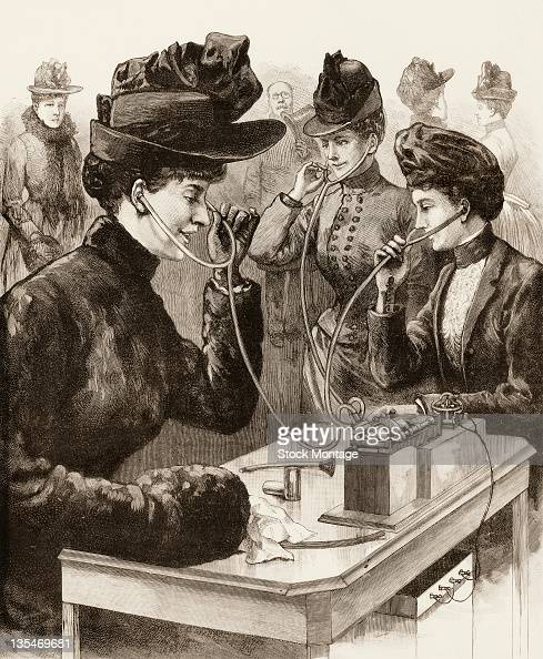 Illustration from the cover of Frank Leslie's Illustrated Newspaper shows three women as they uses ear tubes to listen to a phonograph at an outdoor...