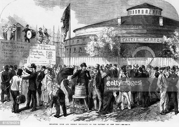 Illustration from the Illustrated London News September 17 1864 Emigrants are being enlisted outside the Commissioners of Emigration building Castle...