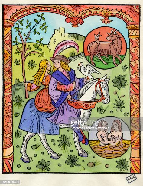 'The months of the year' a series of color woodcut on the right are depicted the zodiac signs Taurus and Gemini Taken from the Paris edition of 'Le...