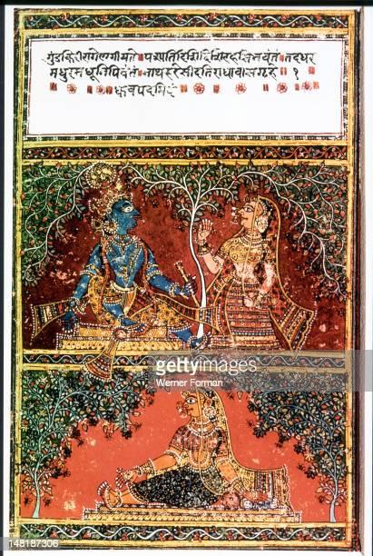 Illustration from the poem Gita Govinda Radha rejects Krishna India Hindu Second half of 16th C AD Rajasthan or Gujarat
