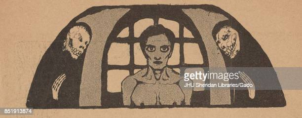 Illustration from the Russian satirical journal Maski depicting a nude woman from the chest up in front of a window with two robed skeletons standing...