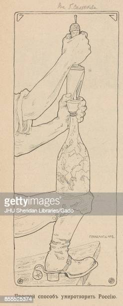 Illustration from the Russian satirical journal Na Rasputi depicting a bottle with a map of Russia resting on a man's knee while a wine tap handle...