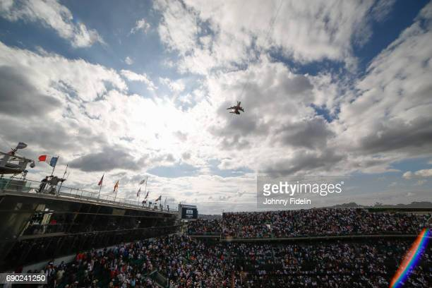 Illustration General View Central Court Philippe Chatrier with a camera plane during the day 3 of the French Open at Roland Garros on May 30 2017 in...