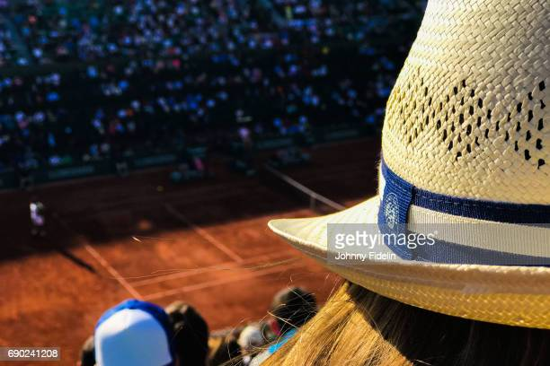 Illustration Hats of Roland Garros with the Court in back during the day 3 of the French Open at Roland Garros on May 30 2017 in Paris France