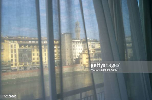 Illustration in Florence Italy in October 2000 River Arno seen from Hotel Lungarno