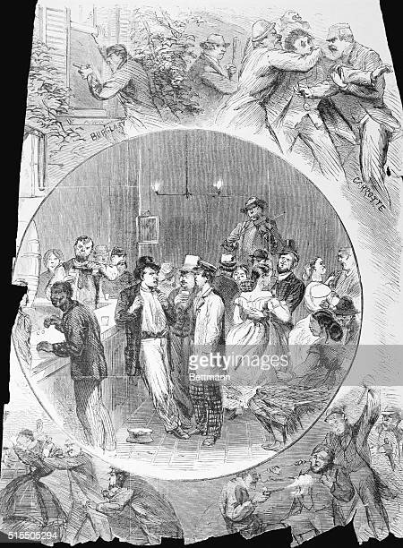 Illustration In Four Parts In the center is a depiction of a saloon with people drinking and dancing On the top left of the circle is a person...