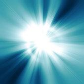 Illustration intense sun on a soft blue abstract sunburst background