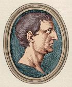 Illustration is a profile portrait of Roman politician and solder Marcus Antonius