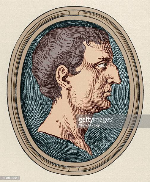 Illustration is a profile portrait of Roman politician and solder Marcus Antonius