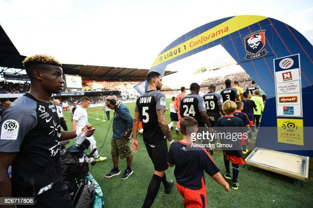 Illustration jersey Tribute to Louis Nicollin during the Ligue 1 match between Montpellier Herault SC and SM Caen at Stade de la Mosson on August 5...