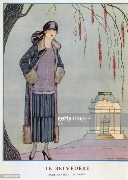 Illustration 'Le Belvédère' présentant une femme portant une robe manteau de Worth publiée dans la 'Gazette du bon ton' de 1924