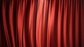 3D illustration luxury red silk velvet curtains decoration design, ideas. Red Stage Curtain for theater or opera scene backdrop. Mock-up for your design project.