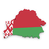 3D Illustration Map Outline of Belarus with the Belarusian Flag