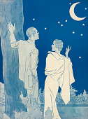 Illustration of a 1930s couple looking at the stars and a crescent moon 1935 Lithograph