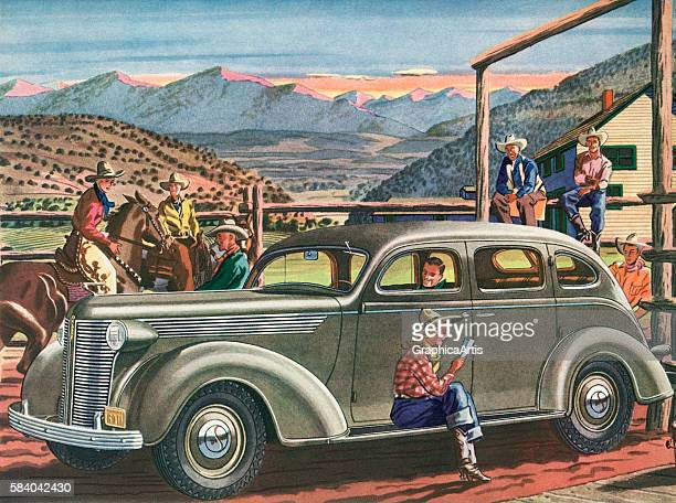 Illustration of a 1930s sedan arriving at the entrance to a tourist dude ranch in the American West 1939 Screen print