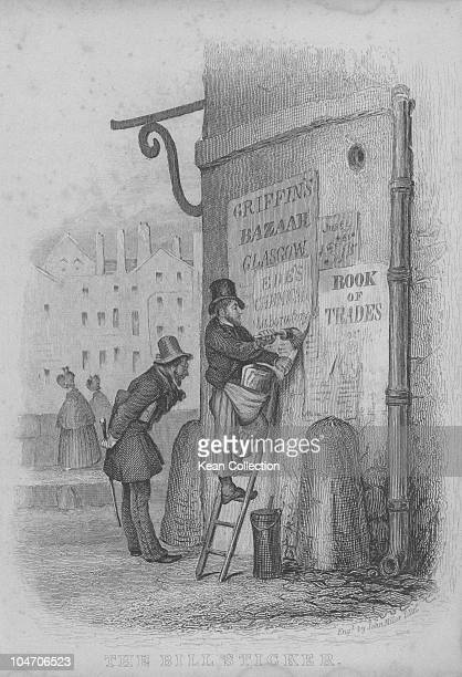 Illustration of a bill poster in the 19th century