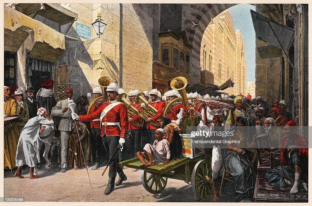 Illustration of a British Army marching band as they parade through the streets, watched by pedestrians and street vendors, Cairo, Egypt, 1890.