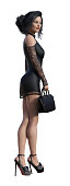 3d Illustration of a  businesswoman wearing a black short lace dress and high heels holding a small case isolated on a white background.