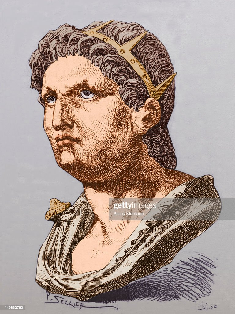 Illustration (signed by 'P. Sellier') of a bust of Roman emperor <a gi-track='captionPersonalityLinkClicked' href=/galleries/search?phrase=Nero+-+Roman+Emperor&family=editorial&specificpeople=3795041 ng-click='$event.stopPropagation()'>Nero</a> (37 - 68 AD).