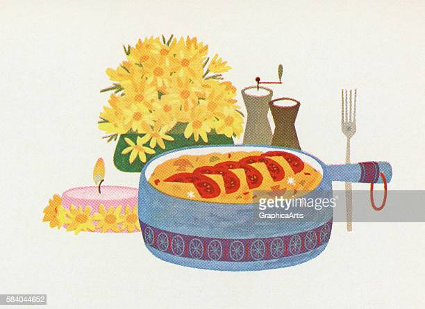 Illustration of a casserole served as a main course 1957 Screen print