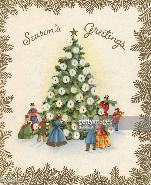 Illustration of a decorated Christmas tree in a snowy town square 1941 Screen print