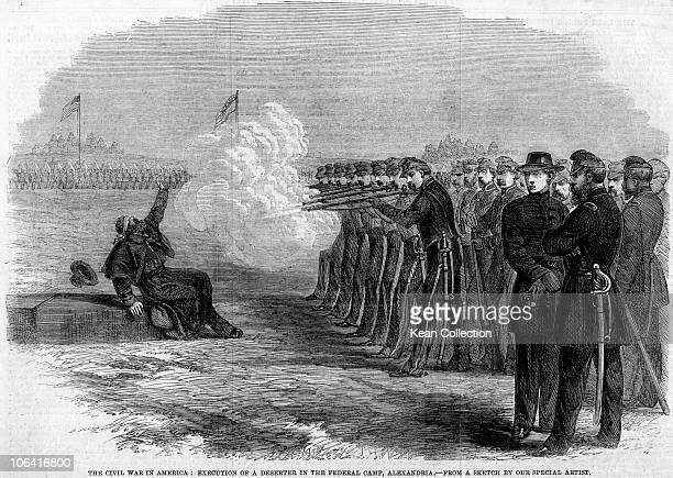 Illustration of a deserter being executed by a firing squad at the Federal Camp in Alexandria during the American civil war