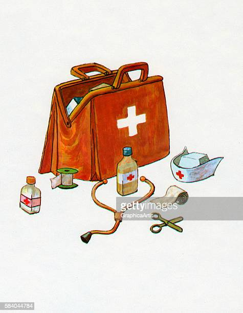 Illustration of a doctor's bag with medical items used for house calls 1967 Screen print