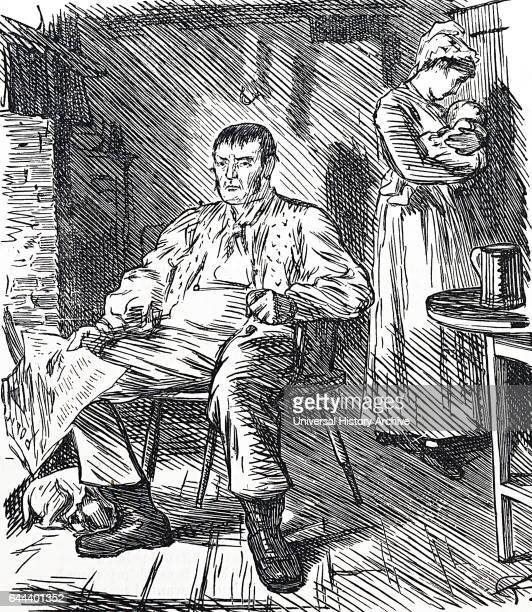 Illustration of a drunken husband sitting in his chair whilst his wife is nursing their infant child Dated 19th Century