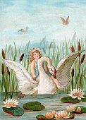 Illustration of a fairy riding a white swan among cattails and lilypads in a marsh 1882 Chromolithograph
