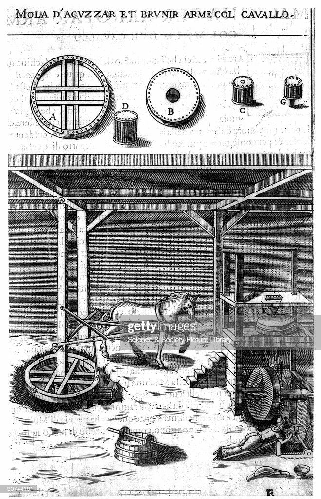 Illustration of a horsepowered mill taken from Branca