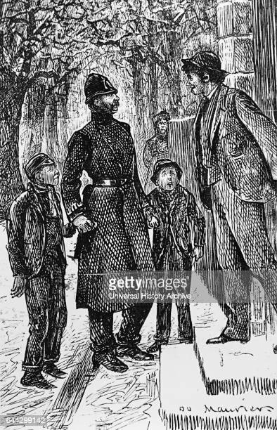 Illustration of a London policeman presenting two street Arabs to the gentleman in front of whose doorstep they have been making a slide on the ice...