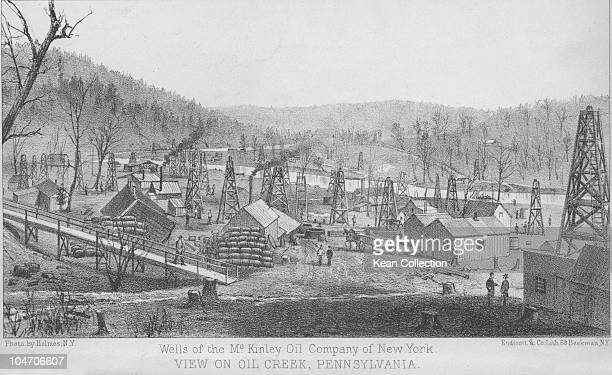 Illustration of a McKinley Oil Company of New York refinery in Oil Creek Pennsylvania circa 1880