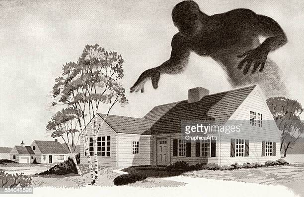 Illustration of a mortgage 'monster' looming over a family home 1956 Screen print