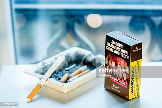 Illustration of a neutral cigarette packet in Paris on September 8 2015 French government wants to reintroduce neutral cigarette packaging in his new...