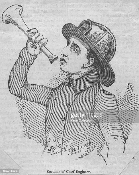 Illustration of a New York fire department chief engineer circa 1850