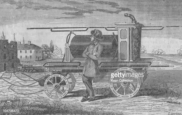 Illustration of a New York fireman and engine circa 1850