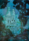 Illustration of a night view of the grand palace from the Persian love story Layla and Majnun 1911 Screen print