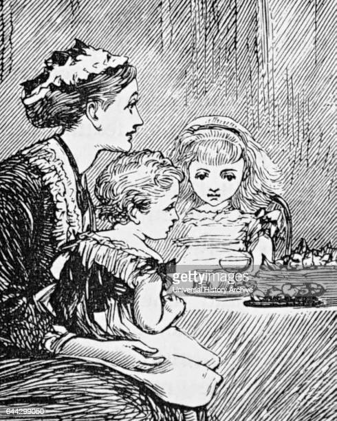 Illustration of a nursemaid feeding her charges their breakfast Dated 19th Century