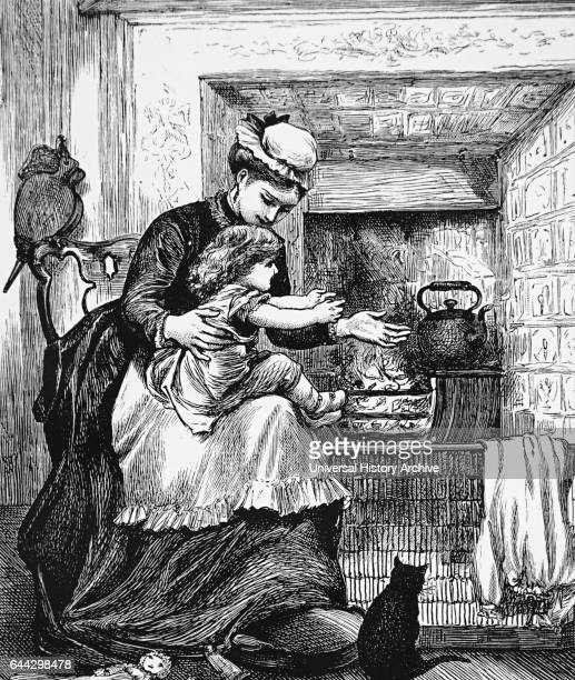 Illustration of a nursemaid with a child in front of a fire The kettle is on the hob the bellows are hanging ready beside the fire and the cat is...