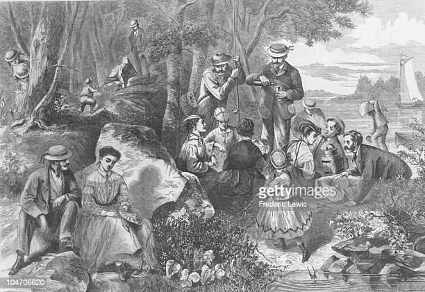 Illustration of a picnic in the country circa 1880