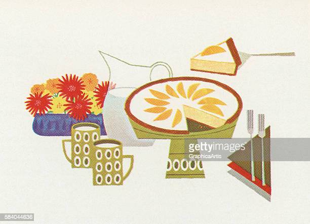 Illustration of a pie being served during a dessert course 1957 Screen print