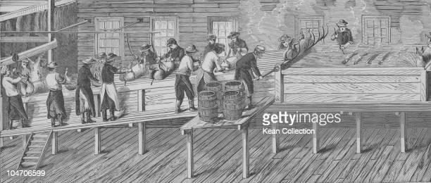 Illustration of a pig slaughterhouse circa 1800