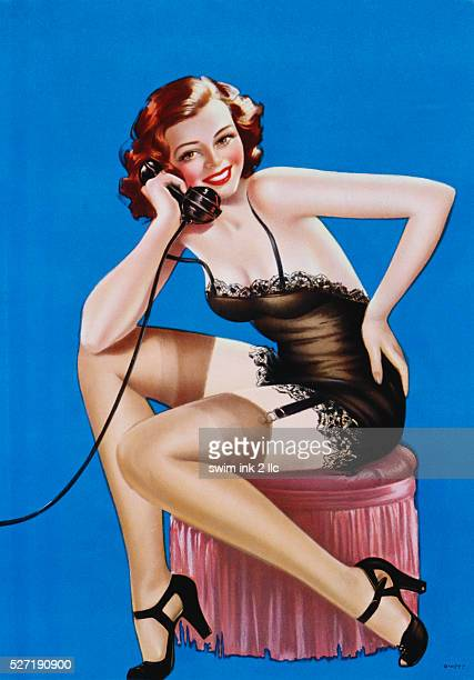Illustration of a Pinup Girl on the Telephone