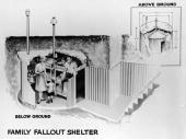 Illustration of a prefabricated steel and concrete family fallout shelter from the Cold War era early 1960s