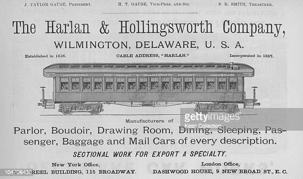 Illustration of a rail carriage made by the Harlan and Hollingsworth Company in Wilmington Delaware circa 1850